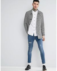 ASOS Regular Fit Casual Oxford Shirt With Grandad Collar In White for men