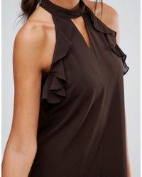 True Decadence - Brown Frill Sleeve Shift Dress - Lyst