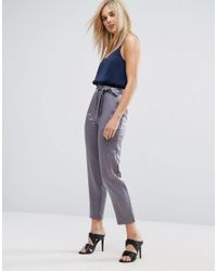 ASOS | Gray Satin Peg Trousers With Split Hem And Belt | Lyst