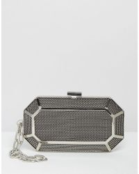 ASOS Metallic Grid Box Clutch Bag With Chain Handle