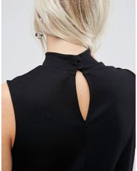 ASOS Black Top With High Neck In Ponte