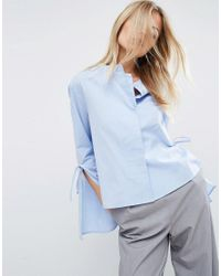ASOS   Blue Double Layer Trapeze Shirt With Tie Sleeve   Lyst