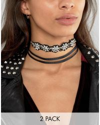 ASOS | Multicolor Pack Of 2 Embellished Wraparound Choker Necklace | Lyst