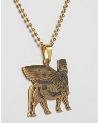 Seven London - Metallic Hieroglyphics Necklace In Gold for Men - Lyst