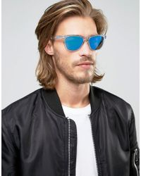 Oakley Blue Square Sunglasses With Mirror Lens for men