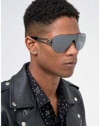 Versace Gray Visor Flat Brow Sunglasses for men