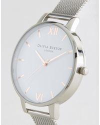 Olivia Burton - Metallic Silver Large White Dial Mesh Watch - Lyst