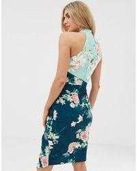 Vestito a portafoglio midi accollato a fiori di Lipsy in Blue