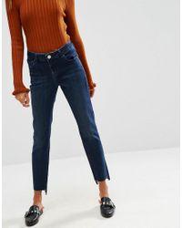 ASOS Blue Pencil Straight Leg Jeans In Dasha Darkwash With Side Split Hem