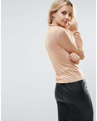 ASOS Brown Petite Top With Polo Neck In Slinky