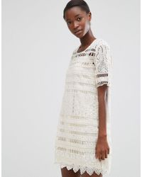 Mango | White Short Sleeve Crochet Shift Dress | Lyst