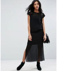 ASOS | Black Sheer T-shirt Maxi Dress With Side Splits | Lyst