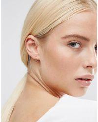 ASOS | Metallic Rose Gold Plated Sterling Silver Hexagon 9mm Hoop Earrings | Lyst