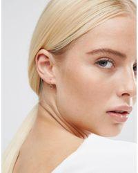 ASOS - Metallic Rose Gold Plated Sterling Silver Hexagon 9mm Hoop Earrings - Lyst