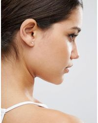 ASOS - Metallic Pack Of 2 Sterling Silver Stud & Ear Climber Earring - Lyst