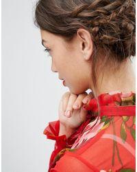 ASOS - Metallic Rose Gold Sterling Silver Heart Hoop Earrings - Lyst