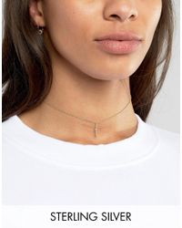 ASOS | Metallic Gold Plated Sterling Silver Crystal Bar Choker Necklace | Lyst