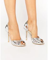 True Decadence Silver Metallic Heeled Peep Toe Sandals