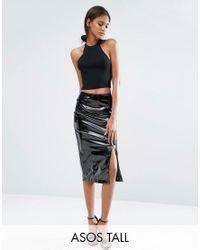 ASOS | Black Pencil Skirt In Wet Look | Lyst