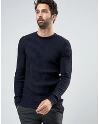 New Look Blue Muscle Fit Ribbed Jumper In Navy for men