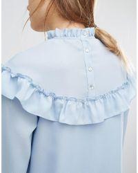 Vero Moda - Blue High Neck Ruffle Mini Dress - Lyst