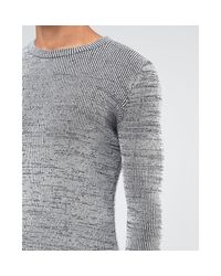 New Look Gray Muscle Fit Jumper In Grey for men