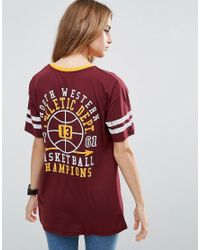 ASOS Purple T-shirt With Collegiate Badges In Super Oversized Fit