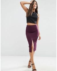 ASOS - Blue Pencil Skirt With Front Split - Lyst