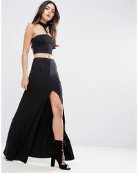 ASOS | Black Maxi Skirt With Thigh Split | Lyst