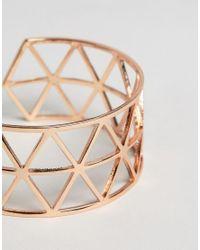 Nylon - Metallic Geo Cut Out Cuff Bracelet - Lyst