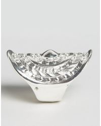 Nylon - Metallic Chunky Embossed Ring - Lyst