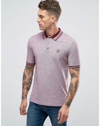 Lyle & Scott | Red Oxford Pique Polo Eagle Logo In Burgundy for Men | Lyst