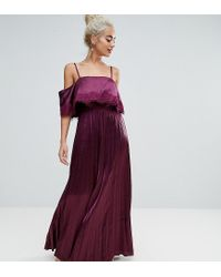 cc565141618 ASOS Satin Pleated Cami Lace Trim Crop Top Maxi Dress in Red - Lyst