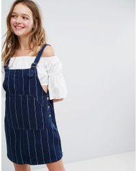 Monki - Blue Denim A Line Pinafore Dress - Lyst
