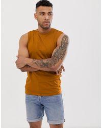 Camiseta sin mangas orgánica en marrón ASOS de hombre de color Brown