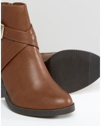 New Look Brown Cross Strap Heel Ankle Boots
