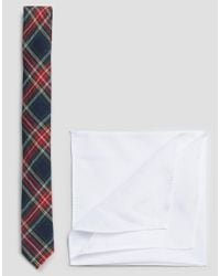 ASOS | Tartan Tie With White Pocket Square Pack - Blue for Men | Lyst