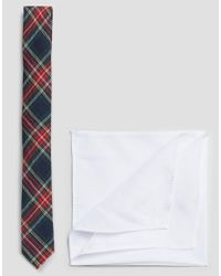 ASOS - Tartan Tie With White Pocket Square Pack - Blue for Men - Lyst