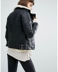 Goosecraft Black Leather Biker Jacket With Faux Shearling Collar