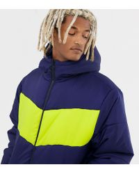 Collusion Blue Tall Colour Blocked Puffer Jacket for men