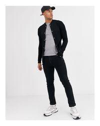 ASOS Black Organic Jersey Longline Muscle Bomber Jacket for men
