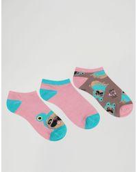 Chelsea Peers - Multicolor Frog Pug 3 Pack Ankle Socks - Lyst