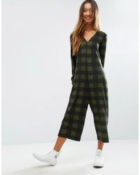 ASOS Multicolor Brushed Soft Jersey Jumpsuit In Check