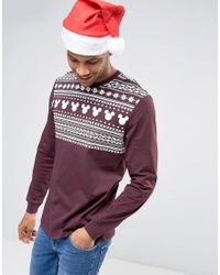 ASOS | Red Mickey Christmas Relaxed Long Sleeve T-shirt With Fair Isle Yoke Print for Men | Lyst