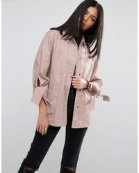 ASOS | Pink Jacket With Bow Sleeve | Lyst