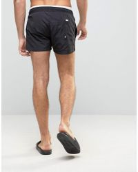 ASOS Black Swim Shorts With Double Waistband Detail In Super Short Length for men