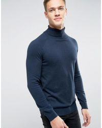SELECTED | Blue Roll Neck Knit for Men | Lyst