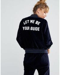 Wildfox Blue Let Me Be Your Guide Baseball Jacket