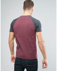 ASOS Muscle T-shirt With Contrast Raglan Sleeves In Red And Washed Black for men