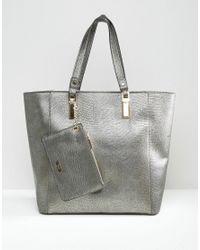 Dune | Gray Dana Metallic Tote Bag | Lyst